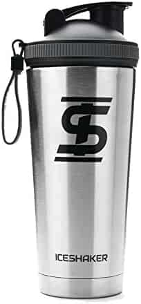 Ice Shaker 26oz Stainless Steel Insulated Water Bottle Protein Mixing Cup - Holds Ice for 30+ Hours As seen on Shark Tank … (Silver, 26oz)