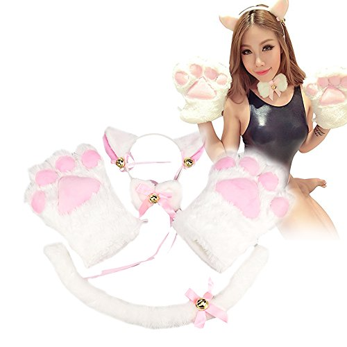 [Cat Cosplay Costume Kitten Tail Ears Collar Paws Gloves Anime Lolita Gothic Set] (White Cat Costume For Women)