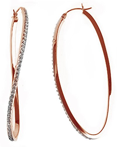 White Natural Diamond Wave Hoop Earrings In 14K Rose Gold Over Sterling Silver