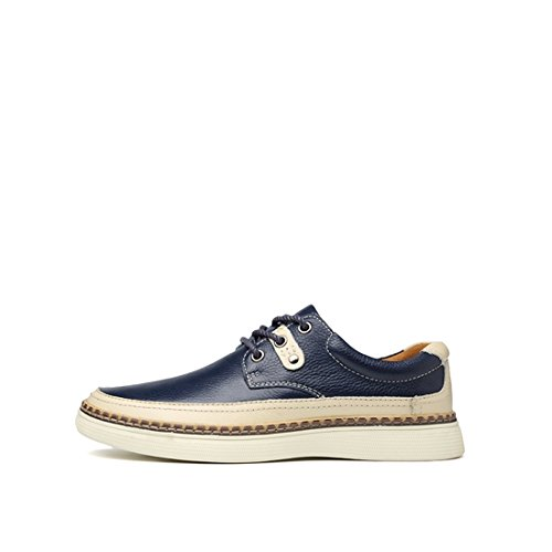 Minitoo Mens Lace-Up Synthetic Low-Top Fashion Sneaker Oxford Shoes Dark Blue