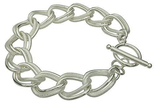 Fegaga Sterling Silver Double Circle Chain Toggle Bracelet for Women
