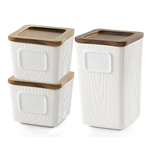 casaWare Stoneware Canister with Airtight Acacia Wood Lid, Rewriteable, Stackable, Tea/Coffee/Multi-purpose Storage (3pc Small/Large) (Tea Set Stackable)