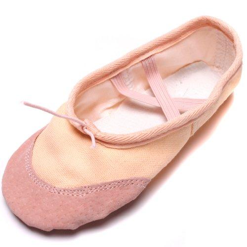 HENGSONG Kindermädchen Weiche Sohle Tanz Ballett Schuhe Komfortable Fitness Atmungsaktive Leinwand Praxis Gym Hausschuhe (Asian Size 29 Länge 18.5cm, Beige)