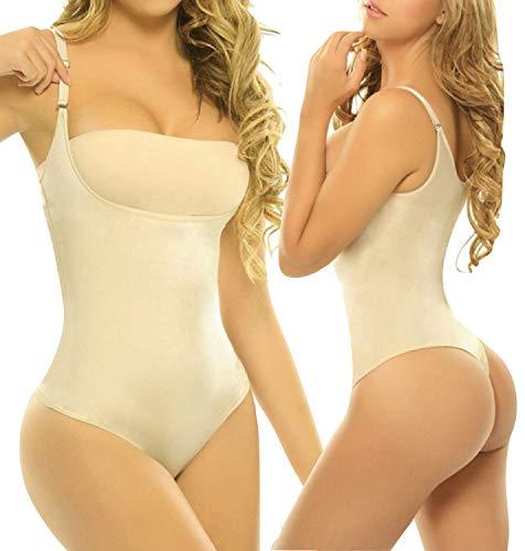 ToBeInStyle Women's High Compression Shapewear Thong Bodysuit - Nude - L/XL