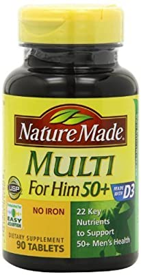 Nature Made Multi for Him 50+ Multiple Vitamin and Mineral Supplement Tablets, 90-Count (Pack of 2) by Nature Made