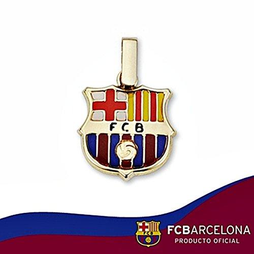 Bouclier pendentif F.C. Barcelona loi 14mm en or 18k. émail [6507]