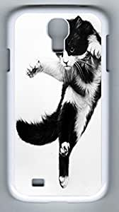 Cute Little Black Cat Hard Cover Back Case For Samsung Galaxy S4,PC Fashion White Case for Samsung Galaxy S4