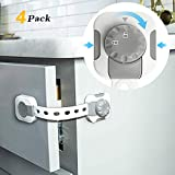 Child Safety Lock by toohoo, Universal Baby Proof Cabinet Locks with Adjustable Strap, 3M Adhesive, Double Lock for Child Proofing Drawers, Toilet, Cupboard, Closet, Oven, Fridge (4 Pack, Gray)