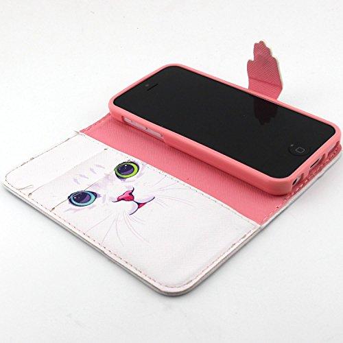 UBMSA-iPhone 5c-portefeuille à rabat avec support et porte-carte de crédit en cuir à rabat avec fermeture magnétique, fonction nouvellement de préhension Soft Coque de protection en TPU avec support,