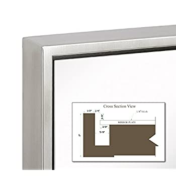 """Clean Large Modern Brushed Nickel Frame Wall Mirror 
