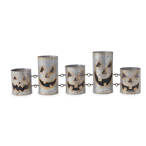 Mud Pie 4985117 Rustic Halloween Tin Jack-O-Lantern Votive Set, Gray]()