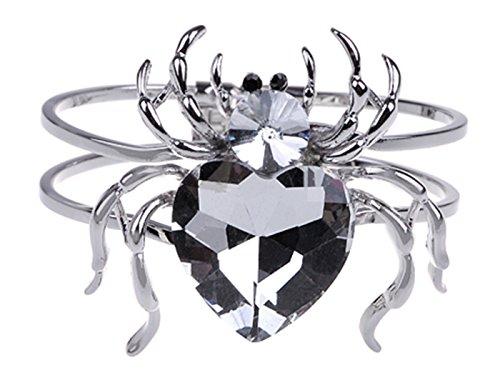 Black Gemstone Halloween Spider Tarantula Cuff Bracelet