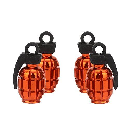 Senzeal 4x Aluminum Grenade Bomb Style Universal Car Tire Valve Stem Caps Auto Tyre Valve Covers Orange