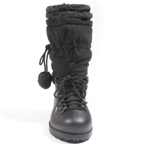 Womens Toe Bootie Waterproof Hot Boots Snow Mid Round Black Cutie Calf pT5Swxaq