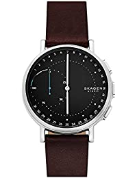 Signatur Stainless Steel and Leather Hybrid Smartwatch, Color: Silver-Tone, Dark Brown SKT1111