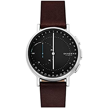 Skagen Connected Mens Signatur Stainless Steel and Leather Hybrid Smartwatch, Color: Silver-Tone, Dark Brown (Model: SKT1111)