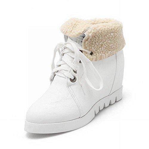 Inverno Delle Donne Moda Inverno Freddo Inverno Utilizzare Piattaforma Lace Up Tallone Caviglia Stivali Invernali Neve Alta Caviglia Bianco