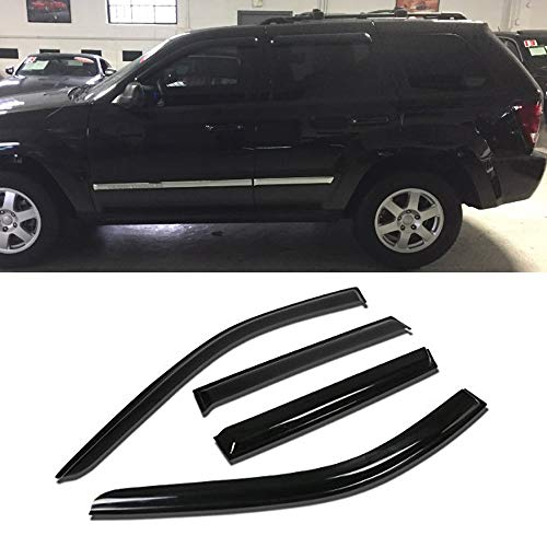 JJ 94252 For 11-18 Jeep Grand Cherokee Sun Rain Guard Vent Shade Side Window Wind Deflectors Window Visors