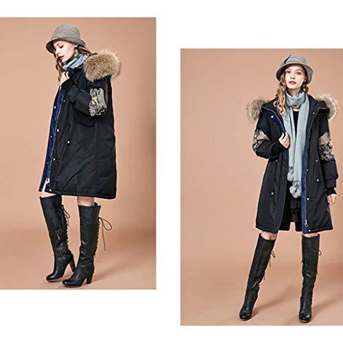Bordado Larga Blanco Mujer Cuello Black Abajo Pato Invierno Size Delgada De S Abrigo ropa Black 90 Grande Nuevo Hacia Piel color Mujer Chaquetas qP7XwvngX