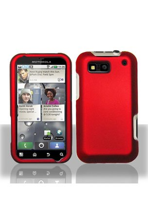 Red Rubberized Snap-On Hard Skin Case Cover for Motorola Defy MB525 Phone by Electromaster - Motorola Phone Skin