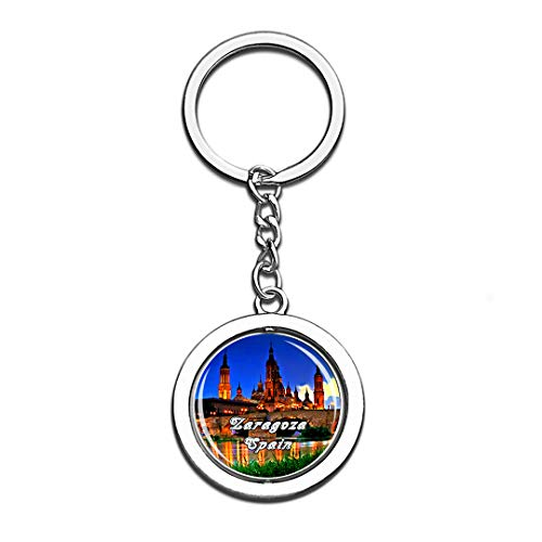 Zaragoza Spain 3D Crystal Creative Keychain Spinning Round Stainless Steel Key Chain Ring Travel City Souvenir Collection]()