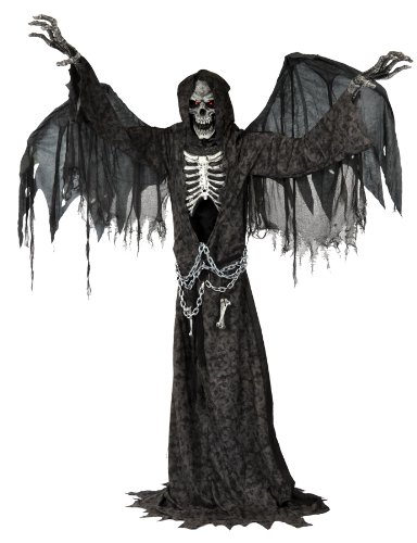 Angel of Death Terrifying Life Size Reaper Animated Halloween Scary Standing Prop Moving and Making Sound with Light up Eyes Wings the Head Is Turning From Side to Side