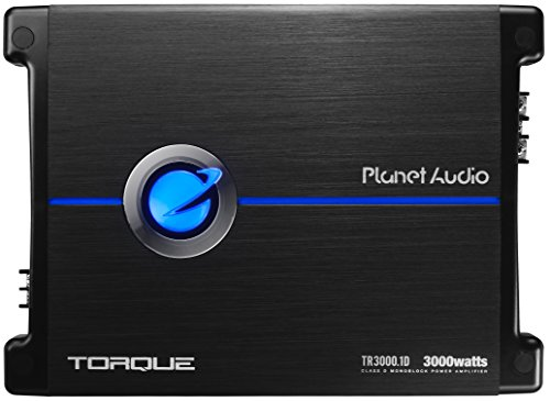 Planet Audio TR3000.1D Torque 3000 Watt, 1 Ohm Stable Class D Monoblock Car Amplifier with Remote Subwoofer Control