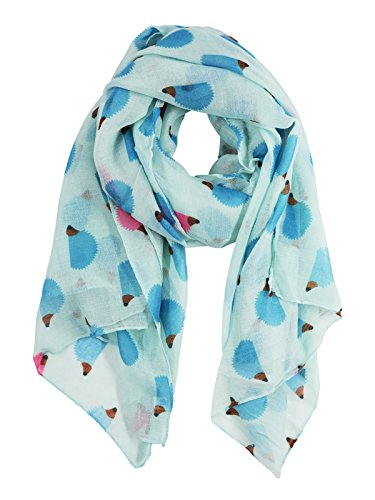 (Cute Animal Wrap Scarf for Womens Fun Hedgehogs Printed Cozy Light Scarves)