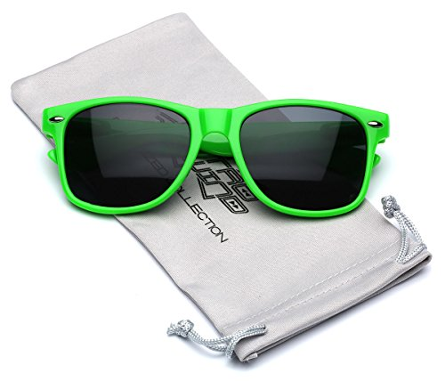 Classic Retro Fashion Sunglasses - Neon Frame with Dark Black - Neon Wayfarer Sunglasses Green