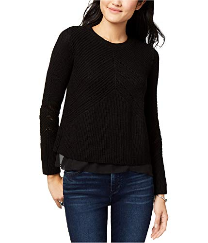 Lucky Brand Womens Nico Cashmere Blend Crewneck Pullover Sweater Black M