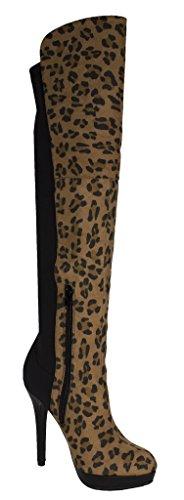 Botas Con Tacón De Plataforma Sobre La Rodilla De Mujer Lustrosas Con Tejido Elástico Trasero Y Cremallera Inferior Falsa Gamuza De Leopardo Marrón Claro