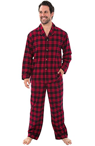 Mens Flannel Pajamas, Long Cotton Pj Set, Red Plaid