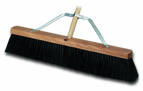 Bon 12-300 24-Inch by 4-Inch Heavy Duty Concrete Street Broom with Black Poly Bristles and 5-Foot Handle