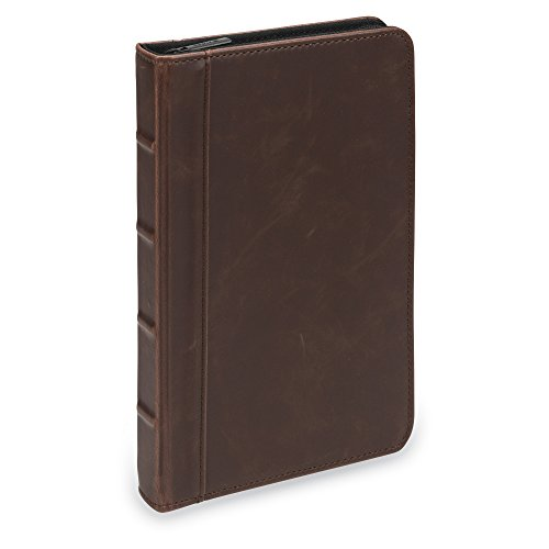 Small Zippered - Samsill Small Vintage Portfolio/Zipper Faux Leather Portfolio, Book Style Hardback Design, Business & Interview Padfolio Organizer, 5 x 8 Writing Pad, Dark Brown
