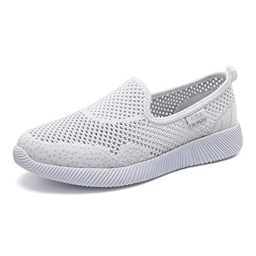 Deportes Pink Malla Zapatillas Blanco Zapatos Plataforma Classic Slip Sneaker Casual Respirable Ligeras Mujer tqwdd84