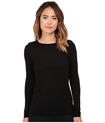 Michael Stars Womens Milano Jersey Back Drape Tunic Pullover Top Black (Milano Long Sleeve Blouse)