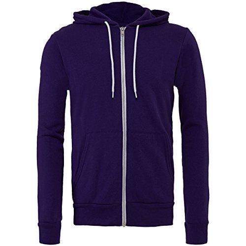 Streetwear Canvas Full Zip Uomo Hoodie Fleece Team Polycotton Purple Unisex Bella Felpa Cappuccio 0gTxqwad0