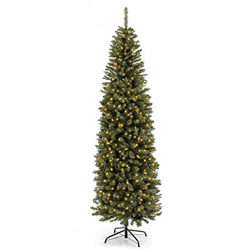 Best Choice Products 7.5FT Pre-Lit Premium Hinged Fir Pencil Christmas Tree w/ 350 UL 588 Certified Lights, Stand (Artificial Christmas Trees Pencil)