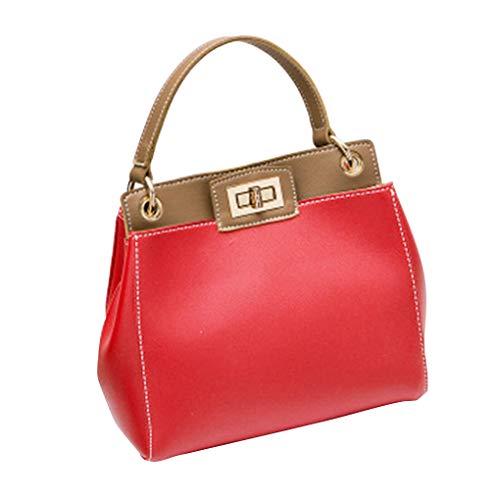 Republe Grande capacità delle donne della ragazza della benna Handbag PU singolo-spalla Buckle Zipper Crossbody Messenger Bags Rosso