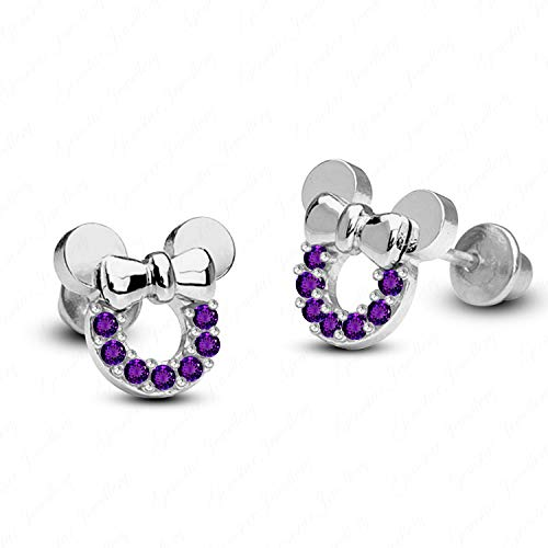 Gemstar Jewellery Round Shape Amethyst 18K White Gold Finishing Minnie Mouse Disney Stud Earrings ()