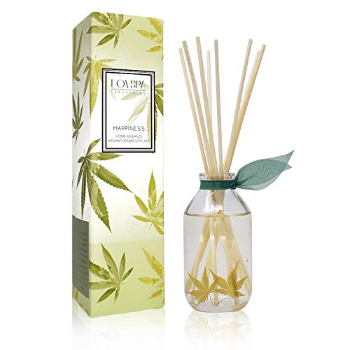 LOVSPA Cannabis Essential Oil Aromatherapy Reed Diffuser Gift Set | Happiness | Earthy-Woody Notes of The Cannabis Plant Blend with Apricot, Balsam, Minty Patchouli & - Happiness Gift Set