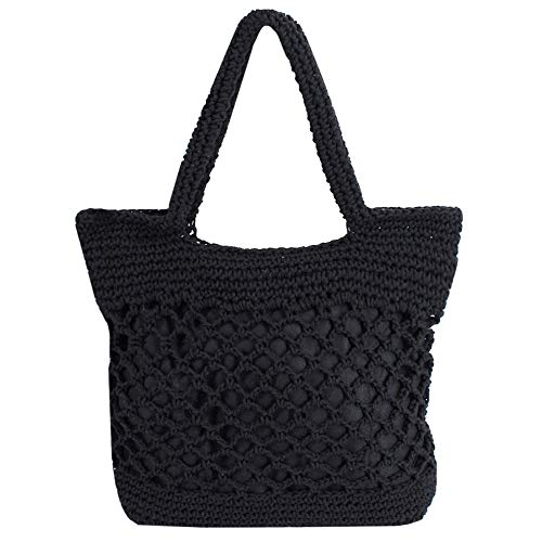 Monique Women Solid Color Crochet Handbag Top-handle Bag Purse Small Tote Shoulder Bag (Black)