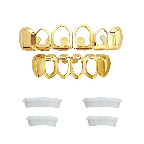 TSANLY Open Face Grillz Teeth 24k Gold Grillz