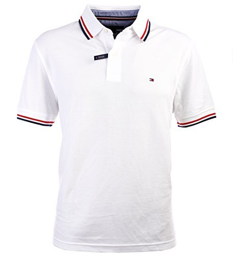 (Tommy Hilfiger Men's Striped Collar Polo (Large, White))