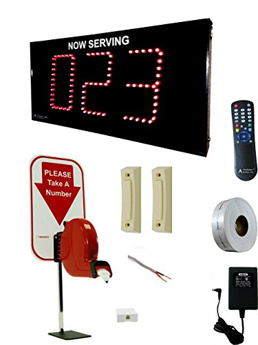 Alzatex Take-a-Number System showing 3-digit ticket number 0-999 with two buttons, D80 dispenser, T80 tickets, infrared remote and counter stand for Waiting Line Management ()