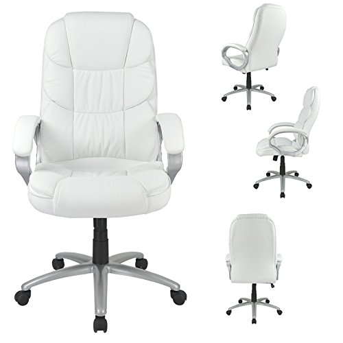 White High Back Leather Executive Office Desk Task Computer Chair w/Metal Base O10 (Base For Office Chair)
