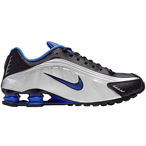 Nike Mens Shox R4 Synthetic Black Metallic Silver Racer Blue Trainers 12 US (Nike Shox Size 12)