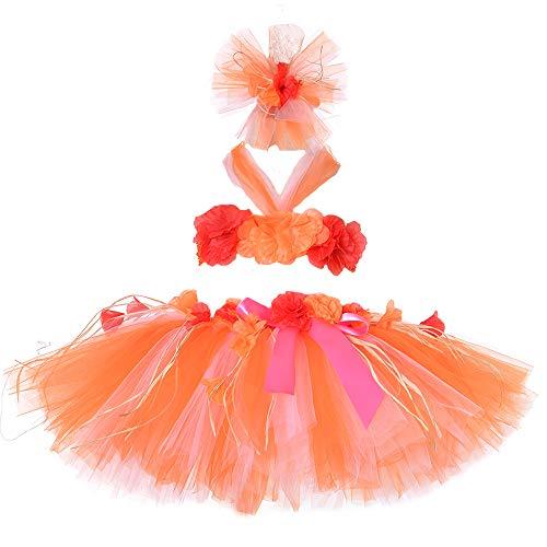 Girls Hawaiian Luau Hula Tutu Skirts Grass Fluffy Skirt Set Party Decorations Favors -