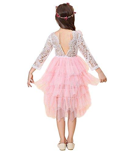 Little Miss Princess Tutu - Miss Bei Little Big Girls'Lace Blackless Long Dress,Kids Tutu Lace Cake Dress Party Wedding Dresses (pink1, 4-5Years/120cm)