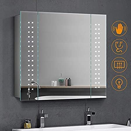 Quavikey Led Illuminated Bathroom Mirror Cabinet With Lights And